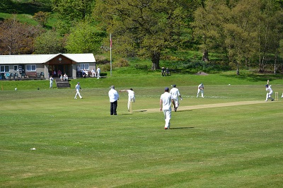 Alex Hart bowls our first ball in the Derbyshire & Cheshire League