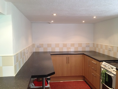 The extended Kitchen area now tiled with the help of a generous grant of £750 from Cheshire East Authority. Thanks also to Shaun at Tile Giant for their assistance.